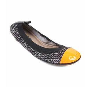 Yosi Samra Tweed Orange Cap Toe Ballet Flats Shoes